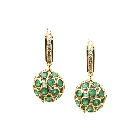 Emerald Origami  Sphere Ball Earring with Diamond Huggies in 18k Yellow Gold