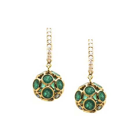Emerald Origami Sphere Ball Earrings on Diamond Huggies  in 18k Yellow Gold