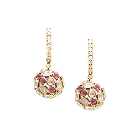 Rainbow Moonstone and Pink Tourmaline Origami Sphere Ball Earrings on a Dimaond Huggies in 18K Yellow Gold