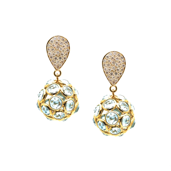 Sky Blue Topaz Origami Sphere  Ball Earring on a Pear shaped  Diamond Pave Top  In 18k Yellow Gold