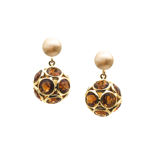 Citrine Origami Sphere Ball Earring in 18k Yellow Gold