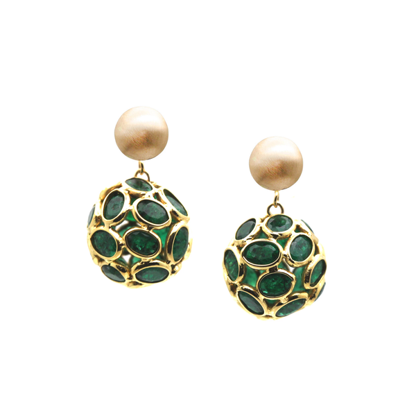 Emerald Origami Sphere Ball Earring in 18k Yellow Gold