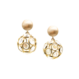 Multicolor Tourmaline Origami Sphere Ball  Earring in 18K Yellow Gold