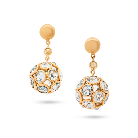 Gemstone & Organic Diamond Sphere Ball Earring In 18K Yellow Gold