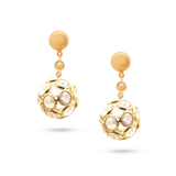 Blue Topaz & Organic Diamond Sphere Ball Earring In 18K Yellow Gold