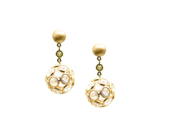 Rainbow moonstone & Organic Diamond Sphere Ball Earring In 18K Yellow Gold