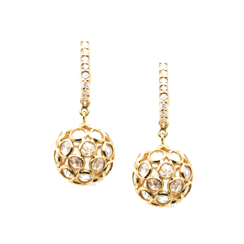 Rose Cut Diamond Sphere Ball Earring on a Diamond Huggies In 18K Yellow Gold