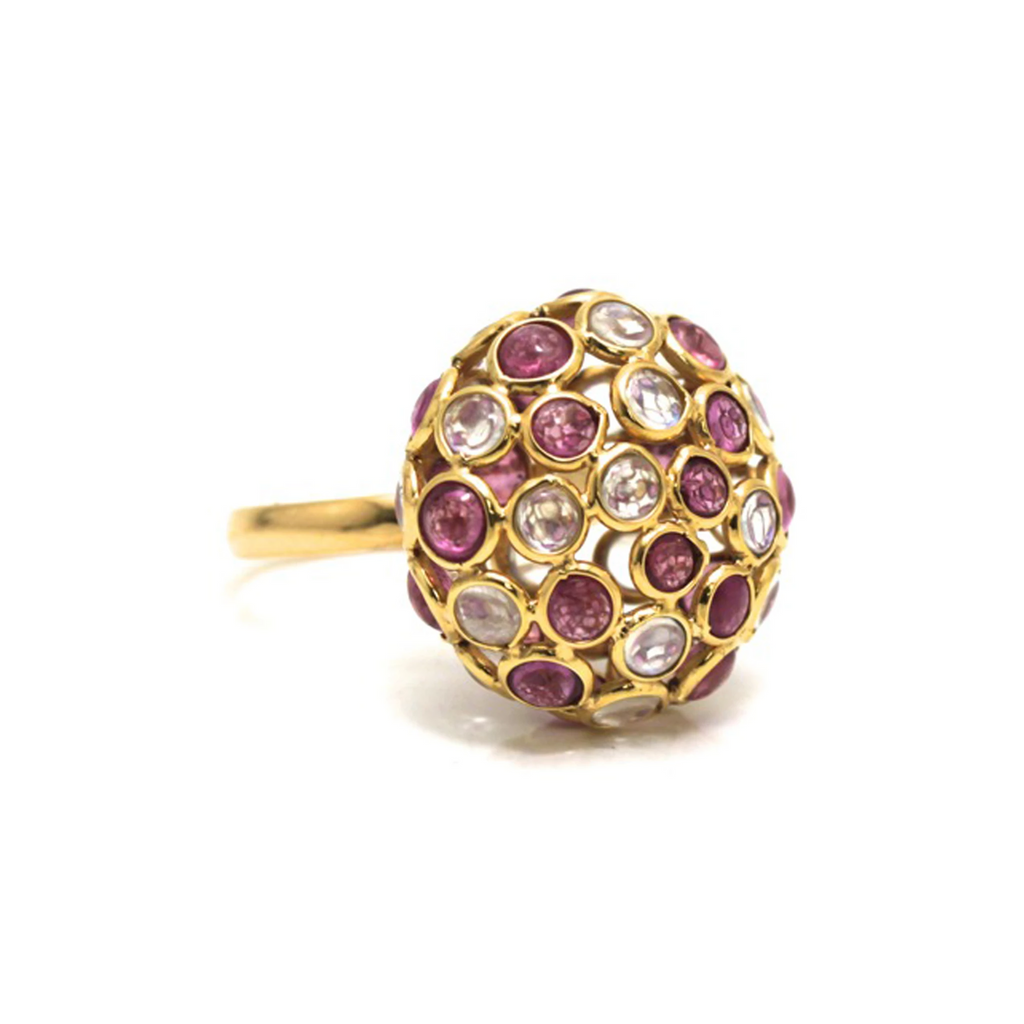 Rainbow Moonstone & Pink Tourmaline Ring In 18K Yellow Gold