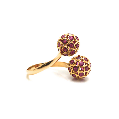 Origami Sphere Balls Ruby Ring in 18k Yellow Gold