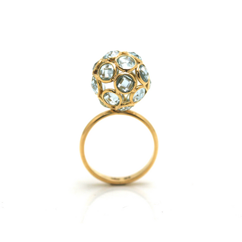 Blue Topaz Origami  Ball Ring in 18k Yellow Gold