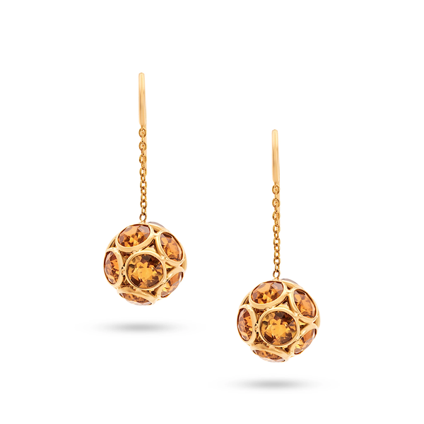 Citrine Round Ball Dangle Earrings in 18k YG