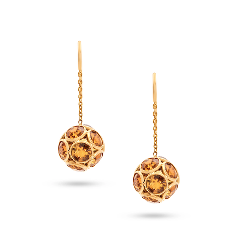 Citrine Round Ball Dangle Earrings in 18k Yellow Gold