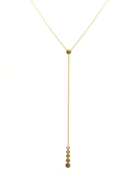 18K Yellow Gold Necklace With Champagne Diamond