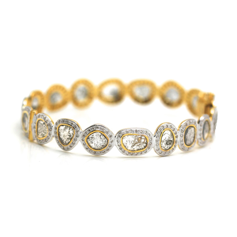Raw organic diamond slice & colorless brilliant diamond (5.77 cts) bangle bracelet in 18k Yellow Gold