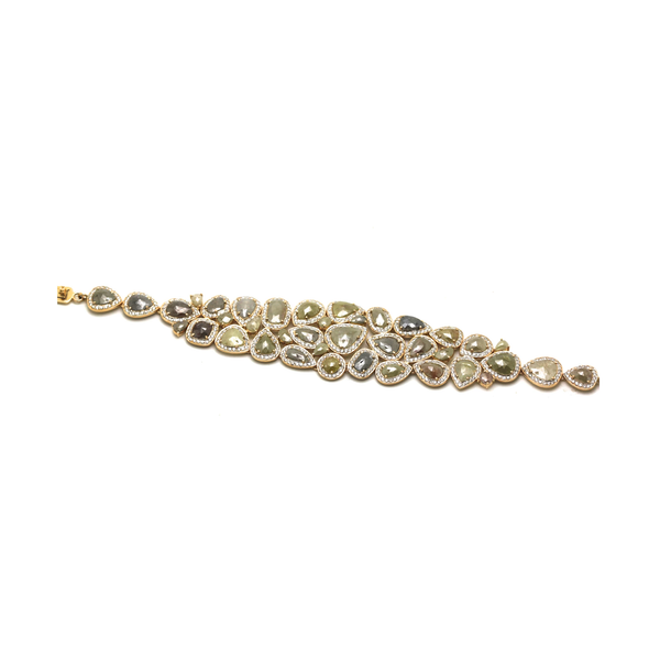 Organic rose cut raw diamond & colorless brilliant diamond bracelet in 18k Yellow Gold