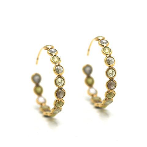 Rose cut champaign diamond hoop earrings in 18k yellow gold