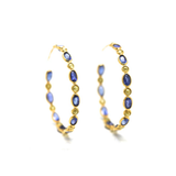 Rose cut champaign diamond and blue sapphire hoop earrings in yellow gold