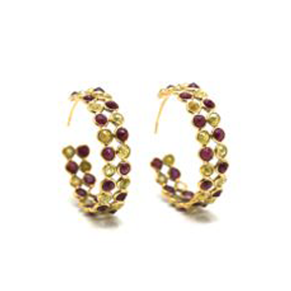 Rose cut champaign diamond and ruby double row hoop earrings in yellow gold