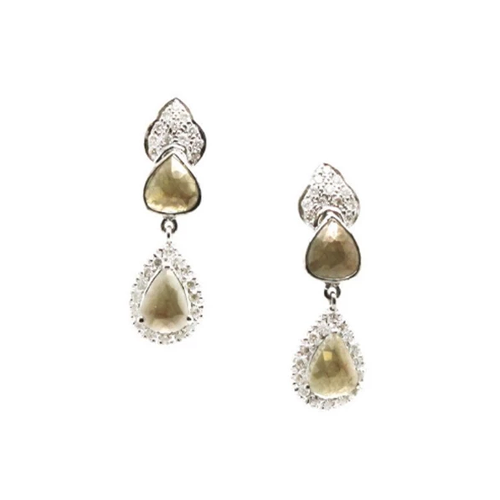 Organic Color Diamond & White Diamond Earring in White Gold