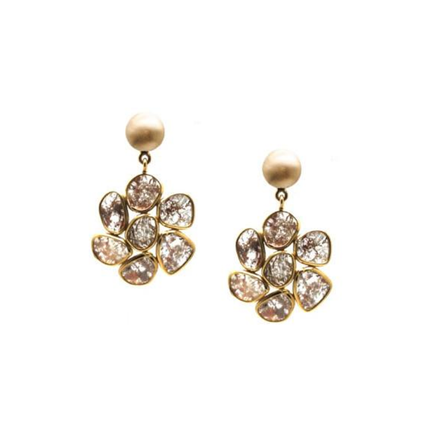 Organic Diamond Slice Flower Earrings in 18k Yellow Gold