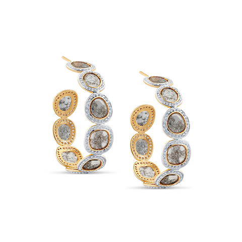 Organic Diamond Slice with White Diamond Hoop Earrings in 18k Yellow Gold
