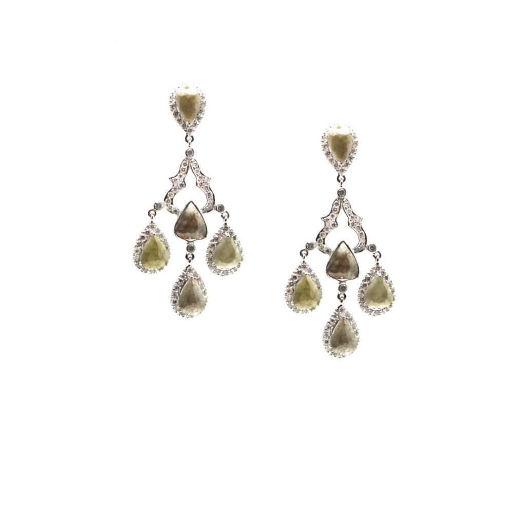 Rose cut raw organic diamond with white round brilliant diamond pave chandeliur earrings 18k White gold