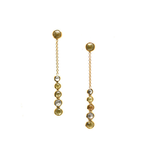 18K Yellow Gold Earring With Champagne Diamond