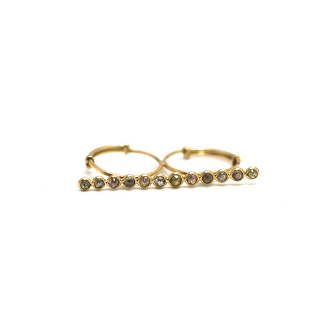 Rose cut champaign diamond double finger ring in 18k yellow gold