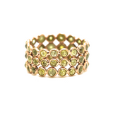 Rose Cut Organic Diamond Triple Row Ring Band in 18k Gold