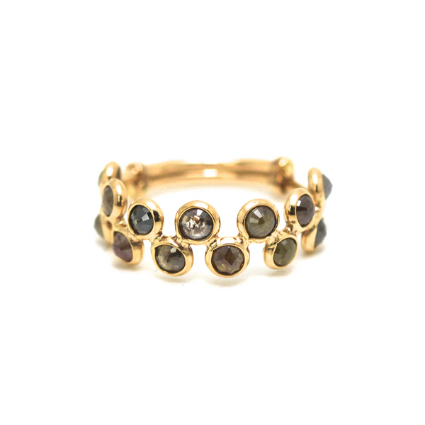 Rose cut champaign diamond ring in 18k yellow gold