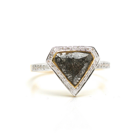 Organic Diamond Slice with Rd Brilliant Diamond Ring in 18k YG
