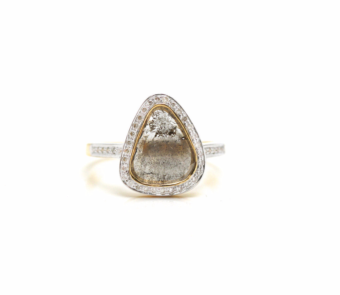 Organic diamond slice with round brilliant diamond ring in 18k YG