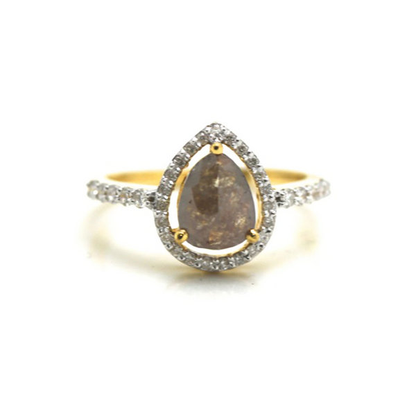 Organic color diamond with round brilliant diamond framed ring in 18k YG
