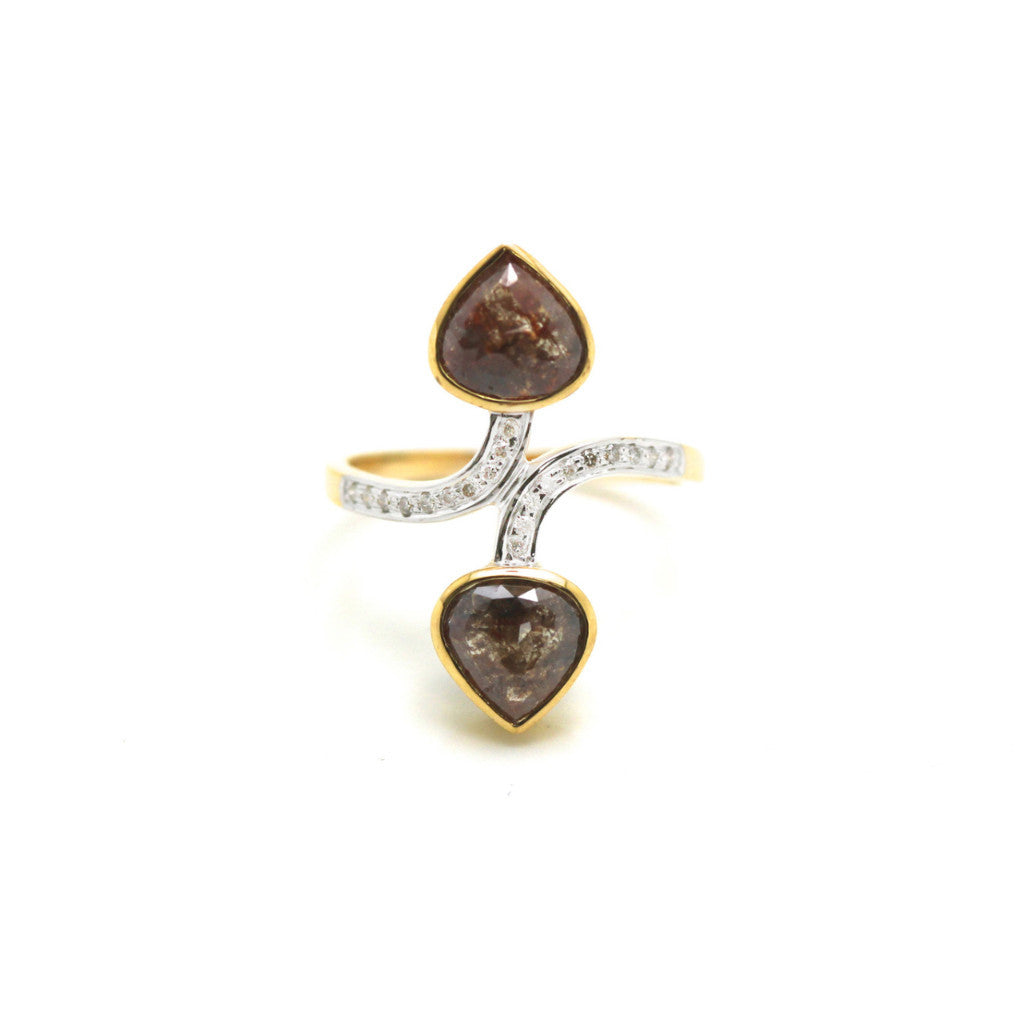 Brown rose cut diamond with round brilliant diamond ring in 18k YG