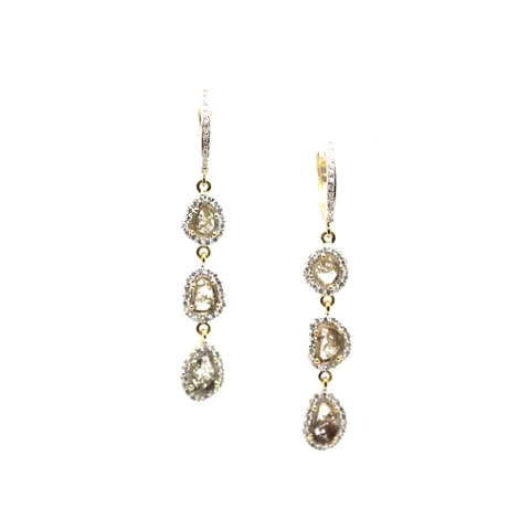 Organic Diamond with White Diamond Earrings in 18k Yellow Gold
