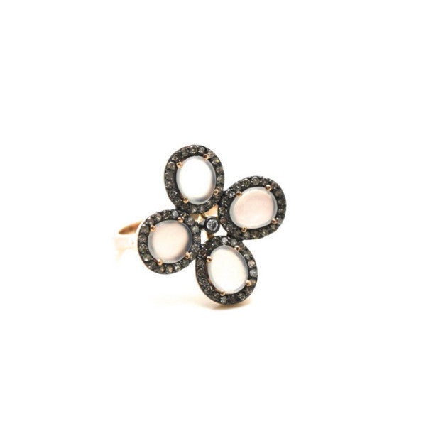 White Moonstone Flower Ring With Diamond Pave Frame Set In 18K Rose Gold