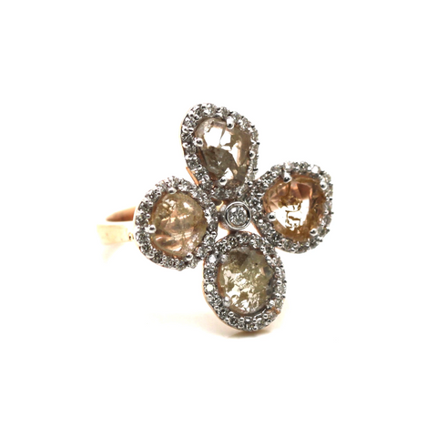 Organic Diamond Flower Ring With White Diamond Pave Frame Set in 18k Rose Gold