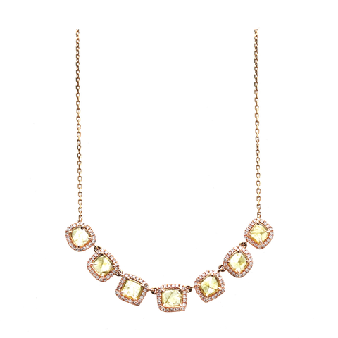 Organic Yellow Diamond with Pave Diamond Necklace in 18k Rose Gold