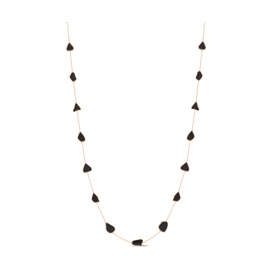 Organic Black and White Diamonds Slice Necklace In 18K Gold