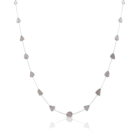Organic Diamonds Slice Necklace in 18k White Gold