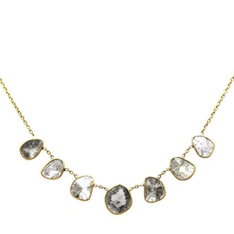 Organic Diamonds Necklace In 18K Yellow Gold
