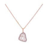 Organic Diamond Slice with Diamond Pave Pendant in 18k Gold