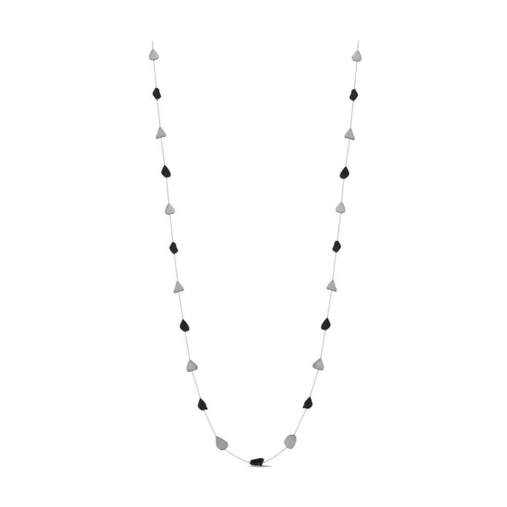Organic White & Black Diamond Slice Long Necklace in 18k Gold