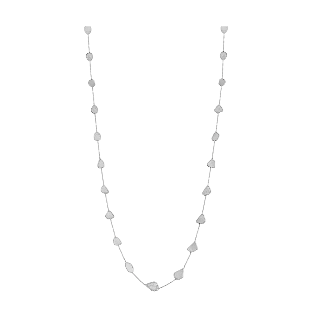 Organic White Diamond Slice Long Necklace in 18k Gold