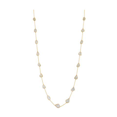 Organic White Diamond Slice Long Necklace in 18k Yellow Gold