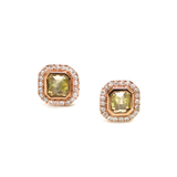 Yellow Diamond with Pave Diamond Stud Earrings in 18k Rose Gold