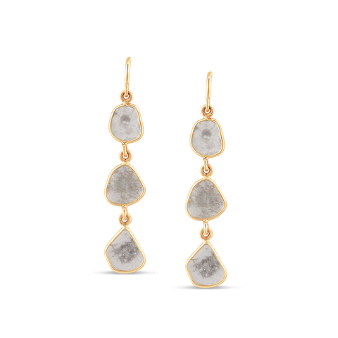 Organic Diamond 3 Dangle - Slice Earrings In 18K Yellow Gold