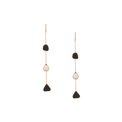 Organic Black and White Diamond Slice Earrings In 18K Gold