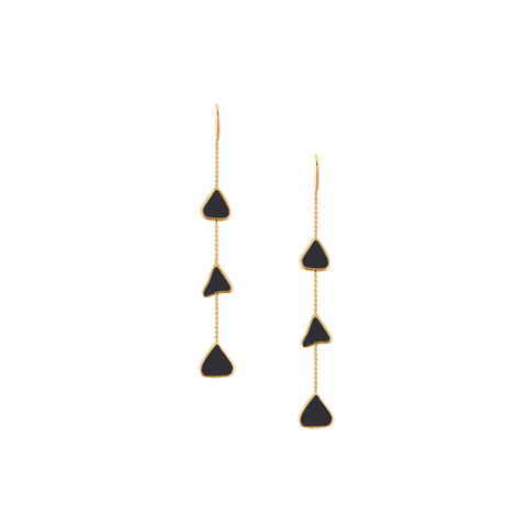 Organic Black Diamond Slice Earrings In 18K Gold