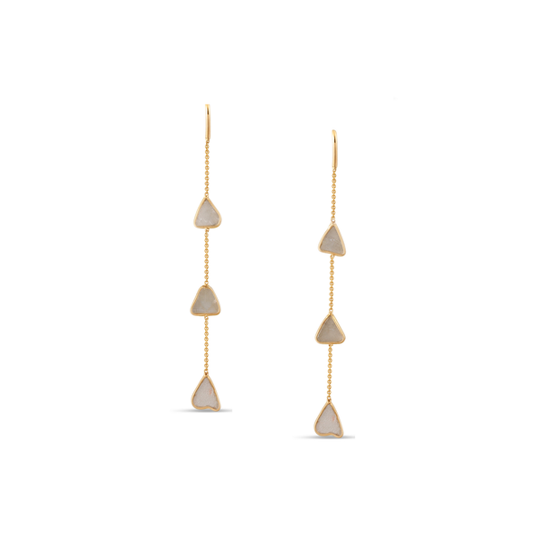 Organic White Diamond Slice Earrings In 18K Gold